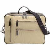 Tods Pashmy Nylon and Leather Briefcase - Beige