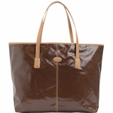 Tods Shiny Canvas Shopping Media Bag - Cacao