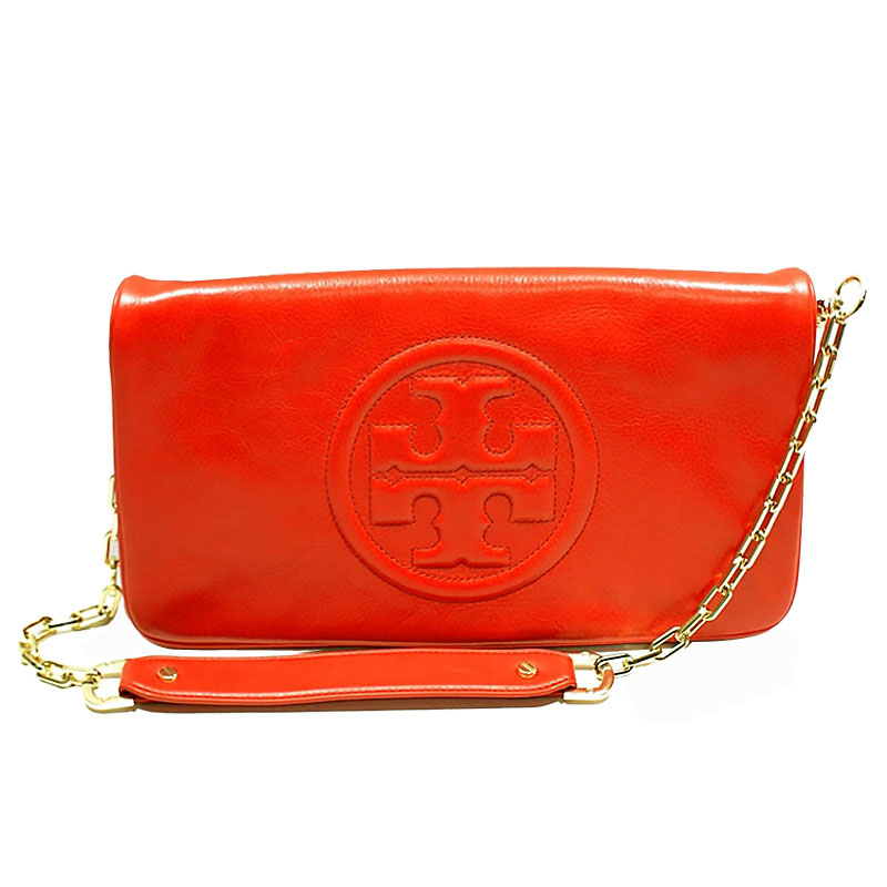 Authentic Tory Burch Bombe Reva Logo Clutch Shoulder Tory