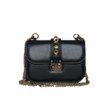 Valentino Glam Lock Leather Crossbody Bag - Black