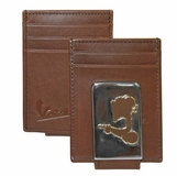 Vespa Front Pocket Wallet with Magnetic Money Clip - Brown