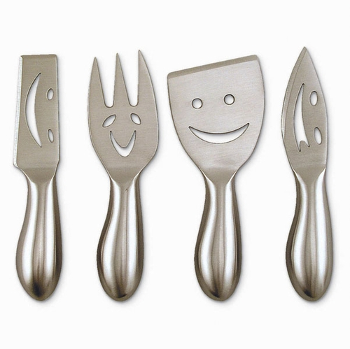 4pc Smiley Face Cheese Knife Set