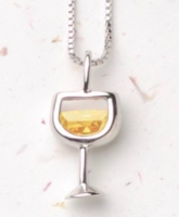 White Wine Glass Necklace