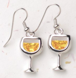 White Wine Glasses Earrings