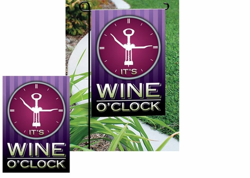 Wine O'Clock Garden Flag