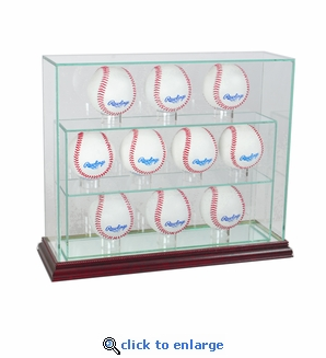 10 Baseball Upright Display Case - Cherry