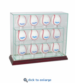 12 Baseball Upright Display Case - Cherry