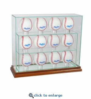12 Baseball Upright Display Case - Walnut