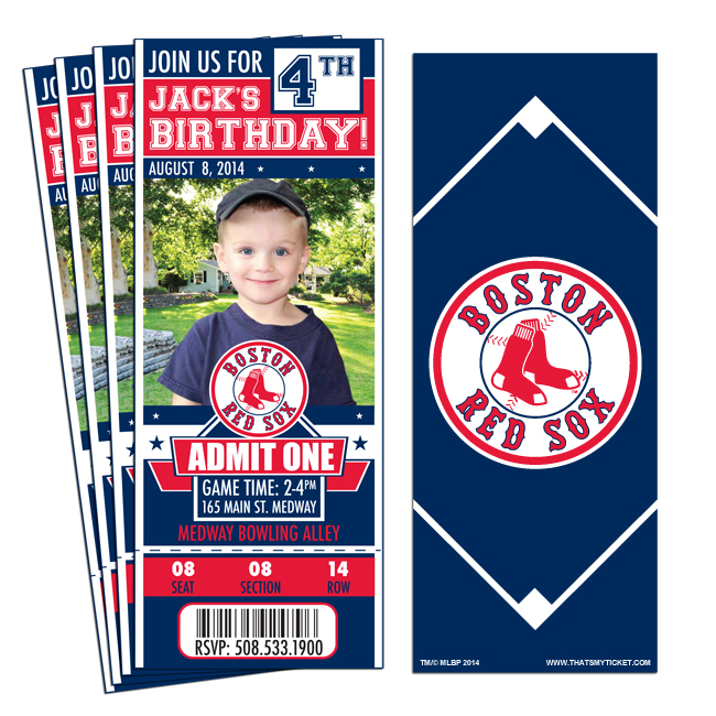 12 Custom Boston Red Sox Birthday Party Ticket Invitations With