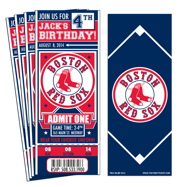 12 Custom Boston Red Sox Birthday Party Ticket Invitations With – Party Ticket Invitations