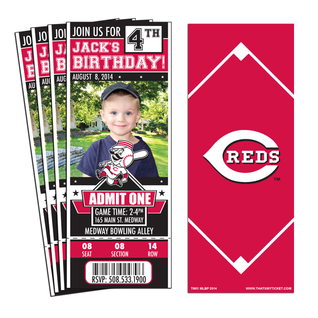 12 Cincinnati Reds Birthday Party Ticket Invitations 1