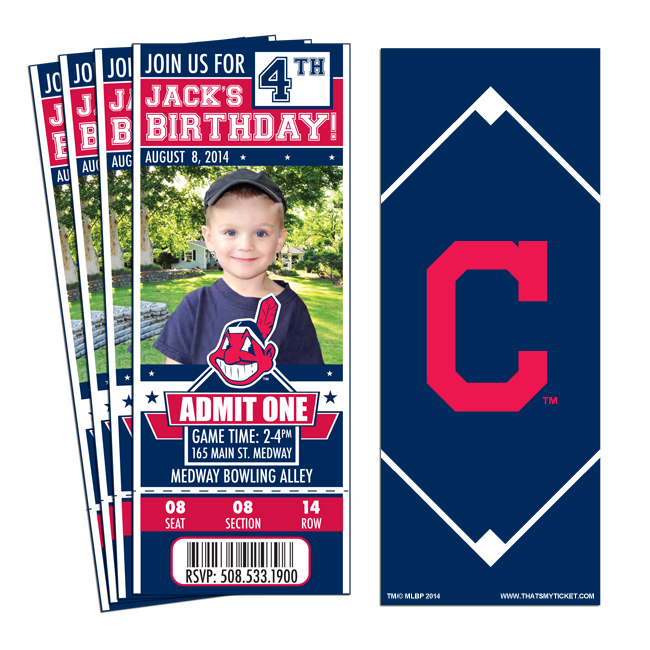 12 Cleveland Indians Birthday Party Ticket Invitations 1