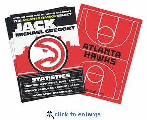 (12) Custom Atlanta Hawks Birth Announcements