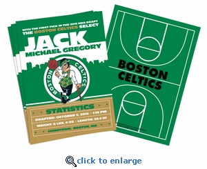 (12) Custom Boston Celtics Birth Announcements