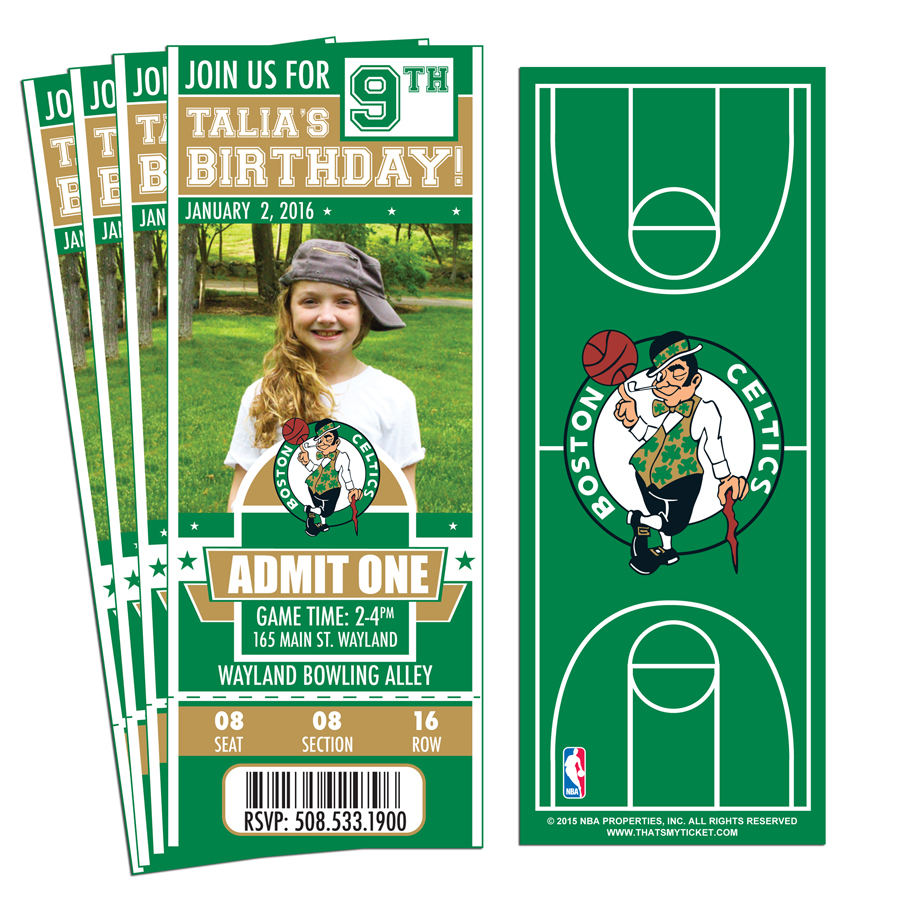 12 Custom Boston Celtics Birthday Party Ticket Invitations With Optional Photo 1