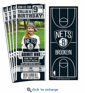 (12) Custom Brooklyn Nets Birthday Party Ticket Invitations With Optional Photo