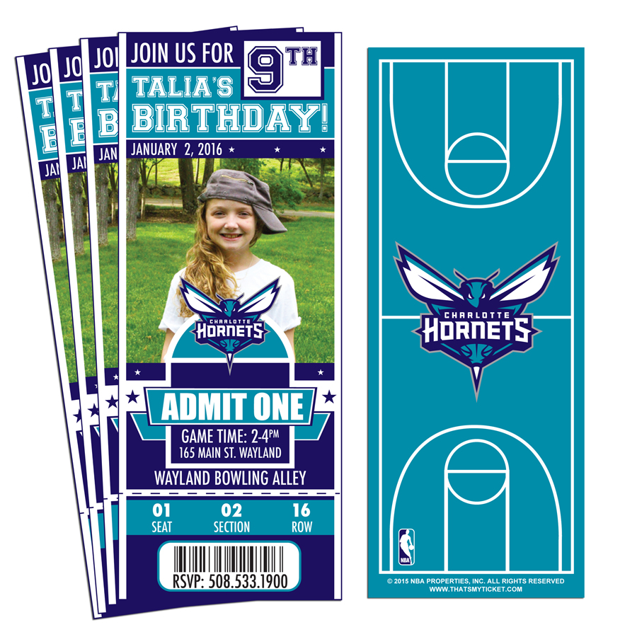 12 Custom Charlotte Hornets Birthday Party Ticket Invitations With