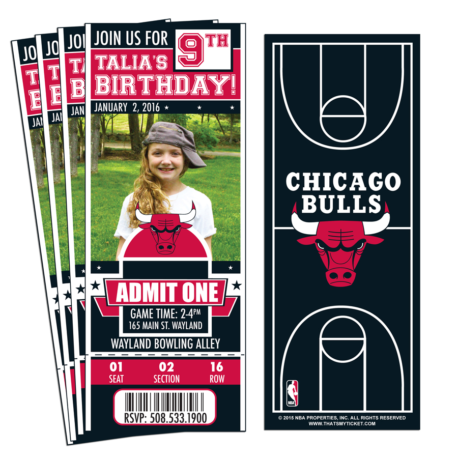 12) Custom Chicago Bulls Birthday Party Ticket Invitations With ...