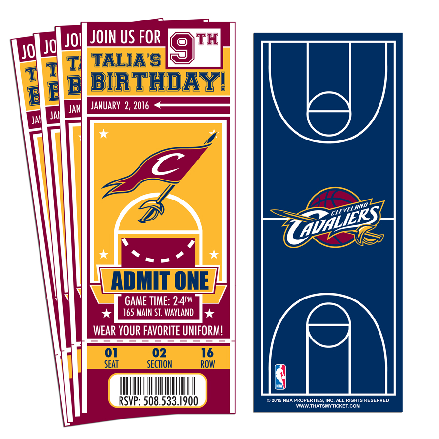 12 custom cleveland cavaliers birthday party ticket invitations