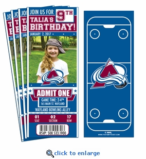 (12) Custom Colorado Avalanche Birthday Party Ticket Invitations With Optional Photo