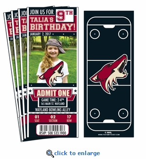 (12) Custom Coyotes Birthday Party Ticket Invitations With Optional Photo