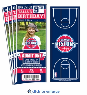 (12) Custom Detroit Pistons Birthday Party Ticket Invitations With Optional Photo