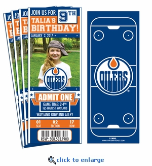 (12) Custom Edmonton Oilers Birthday Party Ticket Invitations With Optional Photo
