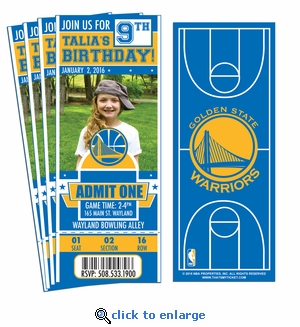 (12) Custom Golden State Warriors Birthday Party Ticket Invitations With Optional Photo
