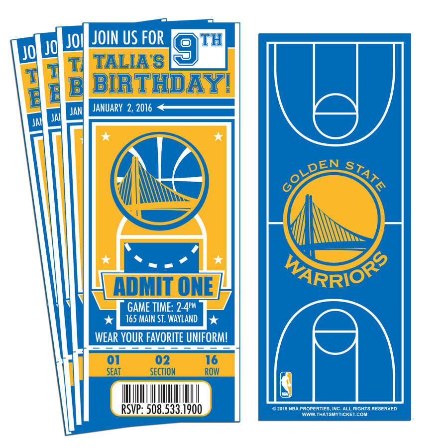 (12) Custom Golden State Warriors Birthday Party Ticket Invitations With  Optional Photo  Party Ticket Invitations