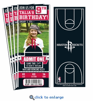 (12) Custom Houston Rockets Birthday Party Ticket Invitations With Optional Photo