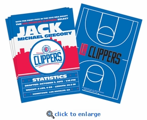 (12) Custom Los Angeles Clippers Birth Announcements