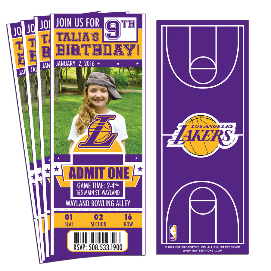 12 Custom Los Angeles Lakers Birthday Party Ticket Invitations With Optional Photo 1
