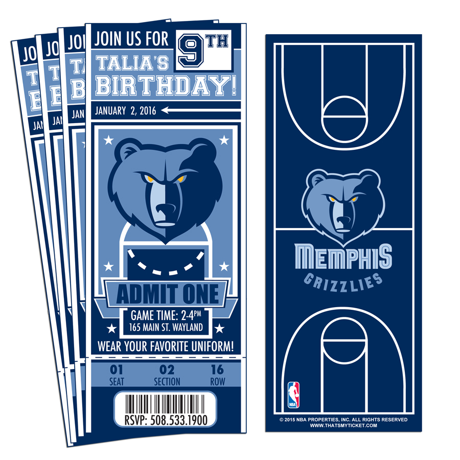 12 custom memphis grizzlies birthday party ticket invitations with optional photo