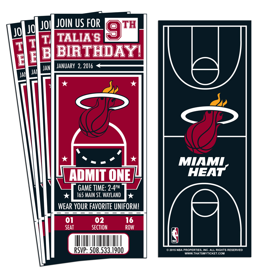 12) Custom Miami Heat Birthday Party Ticket Invitations With ...