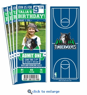 (12) Custom Minnesota Timberwolves Birthday Party Ticket Invitations With Optional Photo