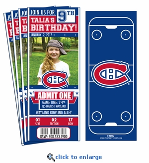 (12) Custom Montreal Canadiens Birthday Party Ticket Invitations With Optional Photo