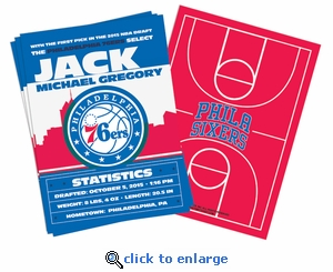 (12) Custom Philadelphia 76ers Birth Announcements