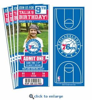 (12) Custom Philadelphia 76ers Birthday Party Ticket Invitations With Optional Photo