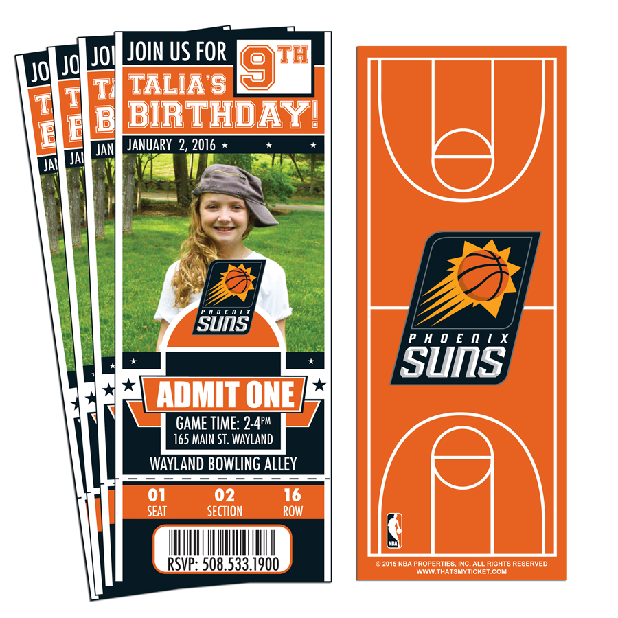 12 Custom Phoenix Suns Birthday Party Ticket Invitations With