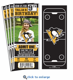 (12) Custom Pittsburgh Penguins Birthday Party Ticket Invitations With Optional Photo