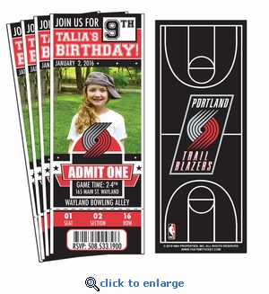 (12) Custom Portland Trail Blazers Birthday Party Ticket Invitations With Optional Photo