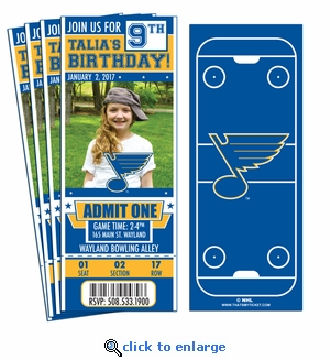 (12) Custom St Louis Blues Birthday Party Ticket Invitations With Optional Photo