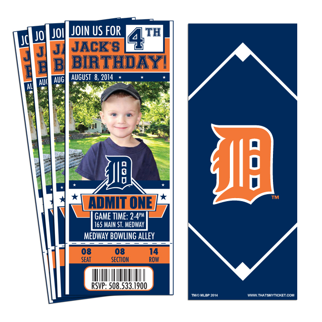 12 Custom Detroit Tigers Birthday Party Ticket Invitations With