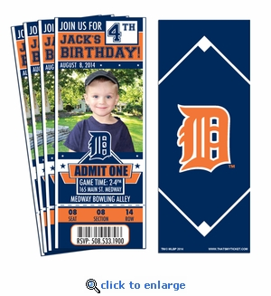 (12) Custom Detroit Tigers Birthday Party Ticket Invitations With Optional Photo
