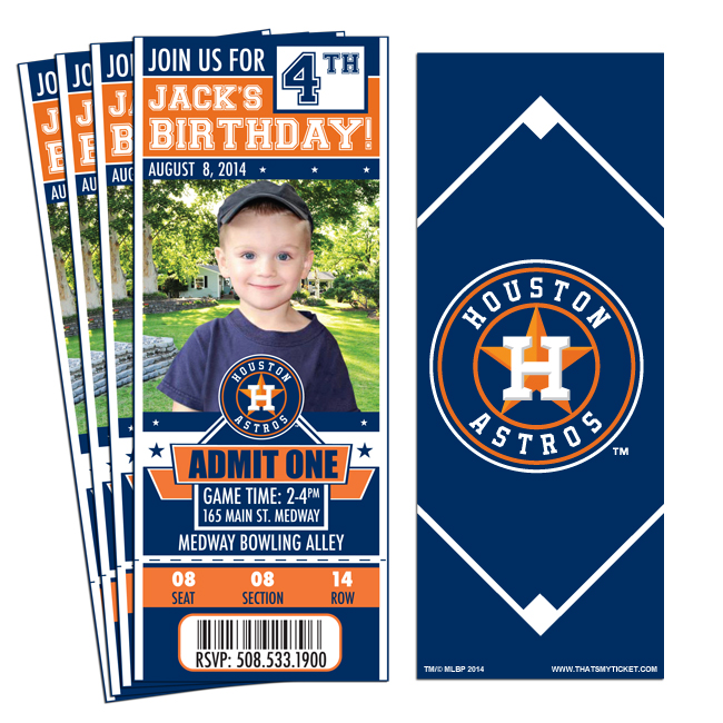 (12) Custom Houston Astros Birthday Party Ticket Invitations With Optional  Photo  Party Ticket Invitations