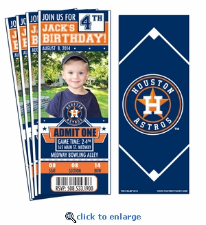 (12) Custom Houston Astros Birthday Party Ticket Invitations With Optional Photo