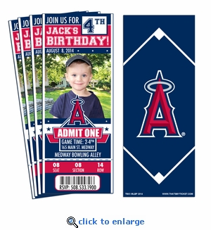 (12) Custom Los Angeles Angels Birthday Party Ticket Invitations With Optional Photo