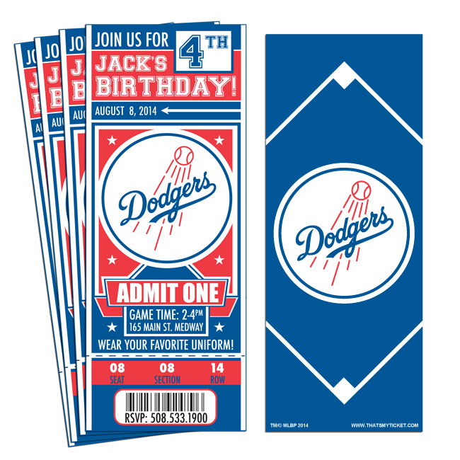 (12) Custom Los Angeles Dodgers Birthday Party Ticket Invitations With  Optional Photo  Party Ticket Invitations