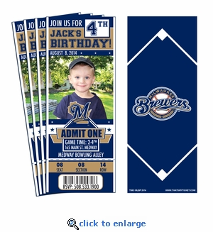 (12) Custom Milwaukee Brewers Birthday Party Ticket Invitations With Optional Photo