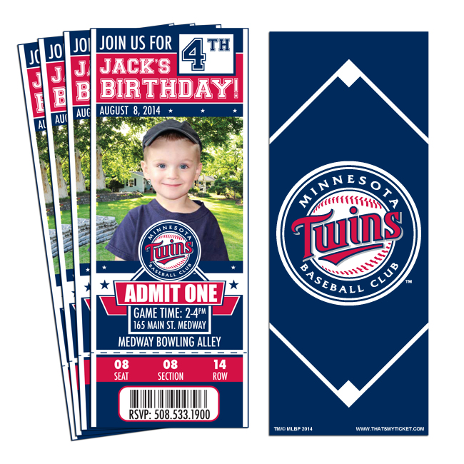 12 Minnesota Twins Birthday Party Ticket Invitations 1